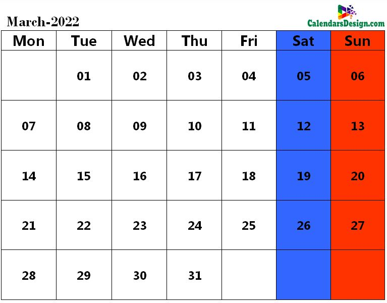 Mar 2022 calendar page