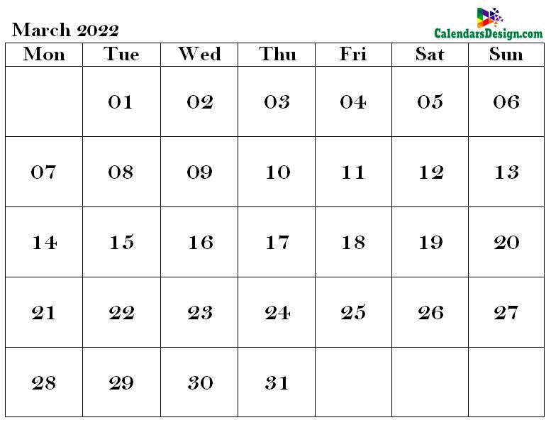 Mar 2022 calendar word doc