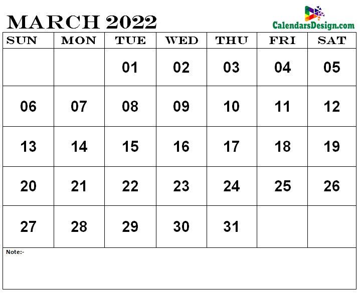 Mar 2022 printable calendar