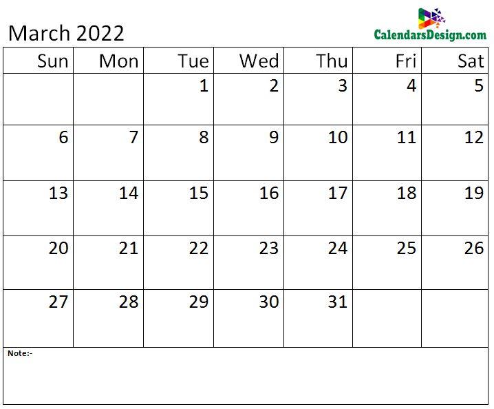 Mar calendar 2022 monthly template