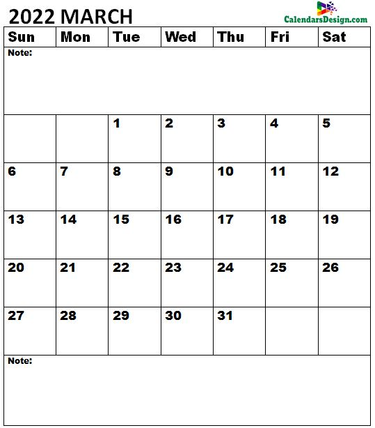 March 2022 Calendar A4 Size