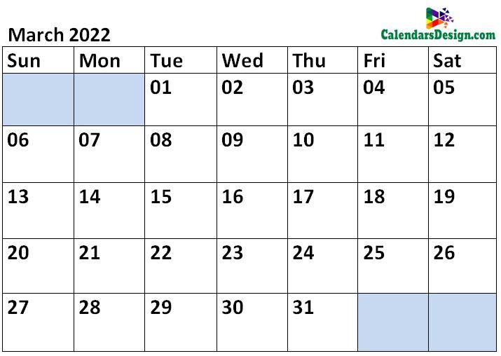 March 2022 Calendar Blank Template