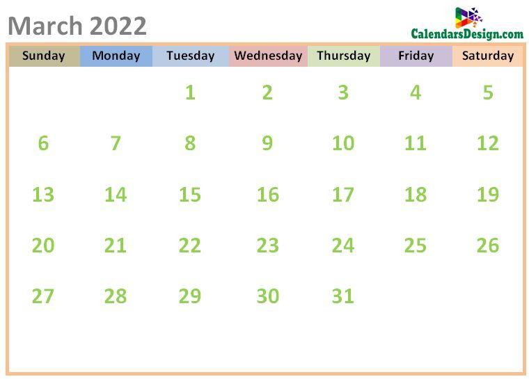 March 2022 Calendar Cute Designs