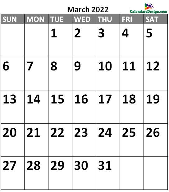 March 2022 Calendar Landscape
