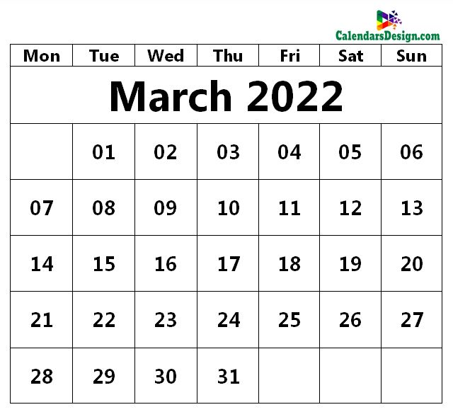 March 2022 Calendar Page