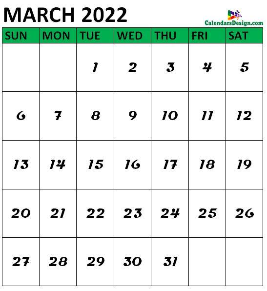 March 2022 Calendar Portrait