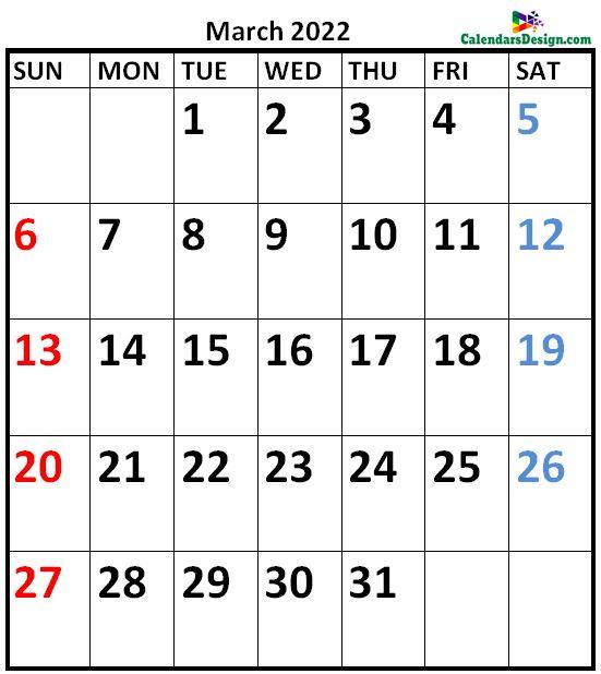 March 2022 Calendar Vertical