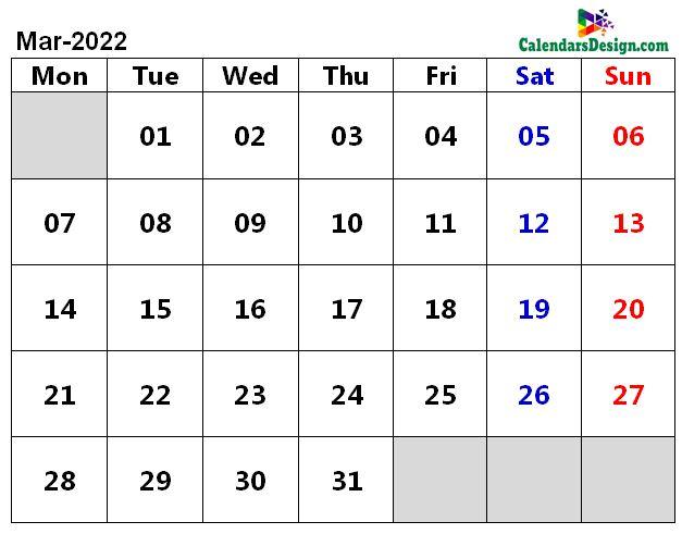 March 2022 Calendar Word Doc