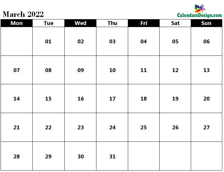 March 2022 Calendar in PDF