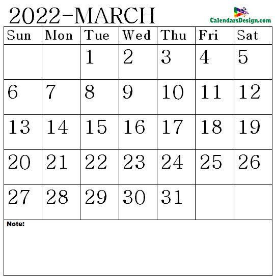 March 2022 Calendar notes