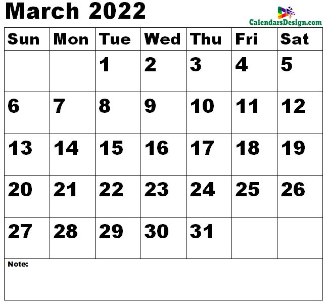 March 2022 Calendar small size