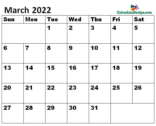 March 2022 Calendar to edit