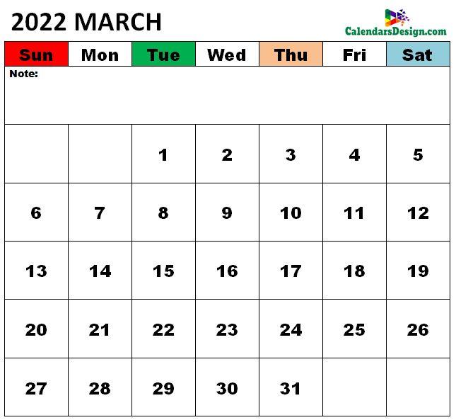 March 2022 Calendar xls