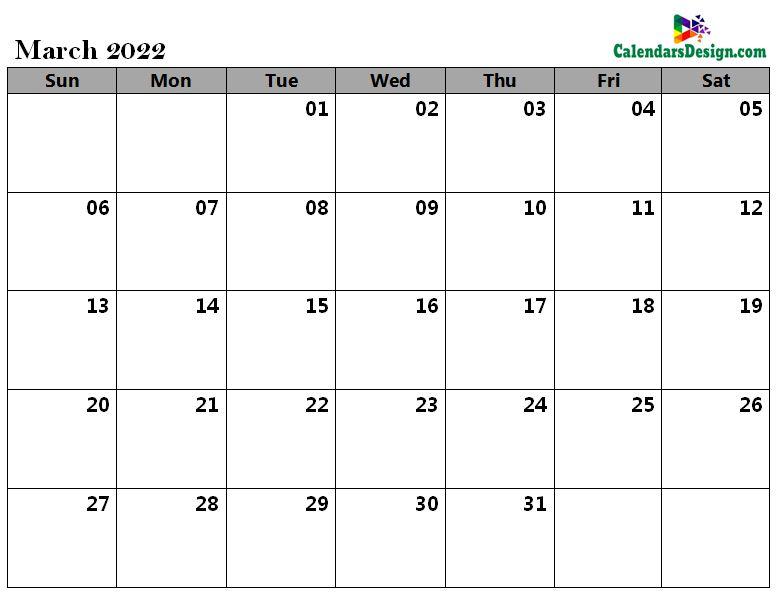 March 2022 a4 calendar