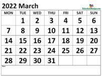 March 2022 calendar Download