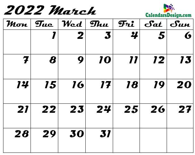 March 2022 calendar blank