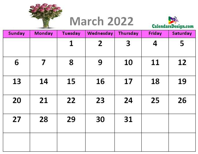 March 2022 calendar designs
