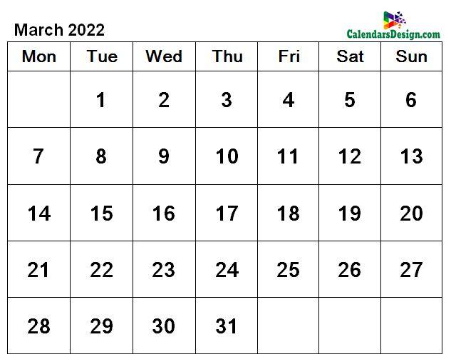 March 2022 calendar document