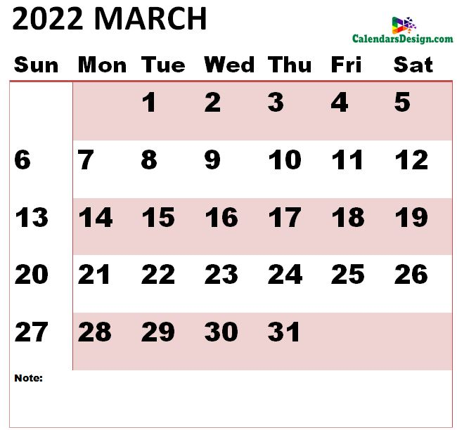 March 2022 calendar large size