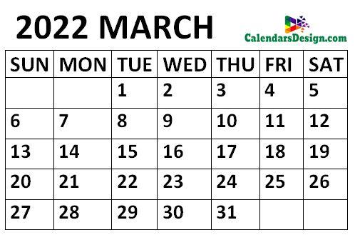 March 2022 calendar medium size