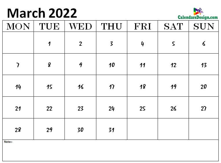 March 2022 calendar png