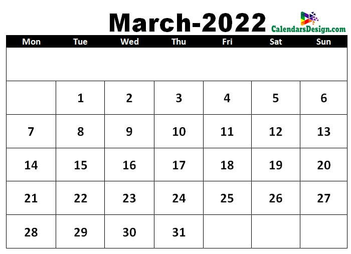March 2022 calendar template in excel