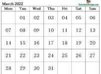 March 2022 calendar with large space