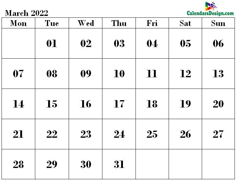 March 2022 calendar word format