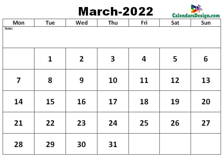 March 2022 excel calendar template
