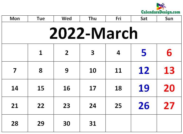 March 2022 excel calendar
