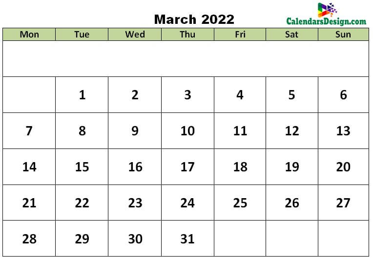 March 2022 excel template