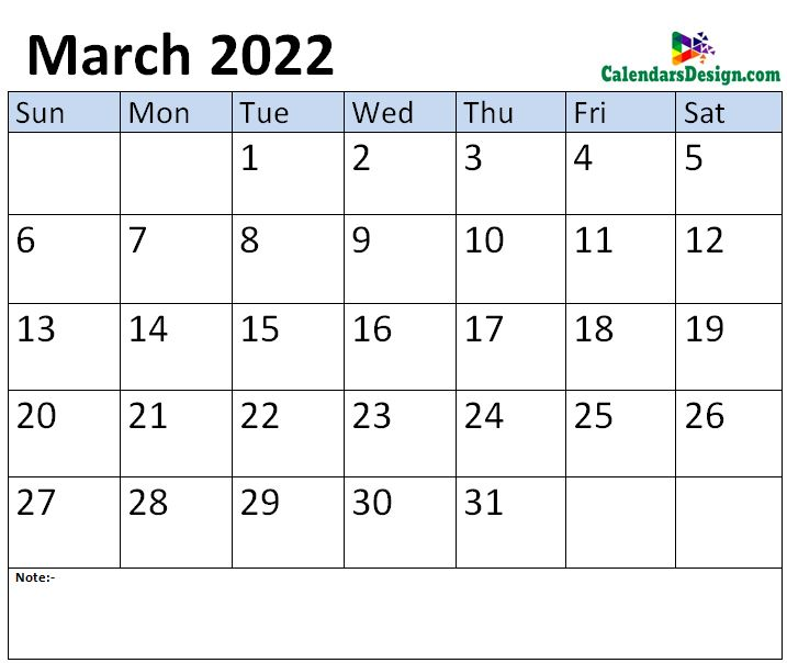 March 2022 month template