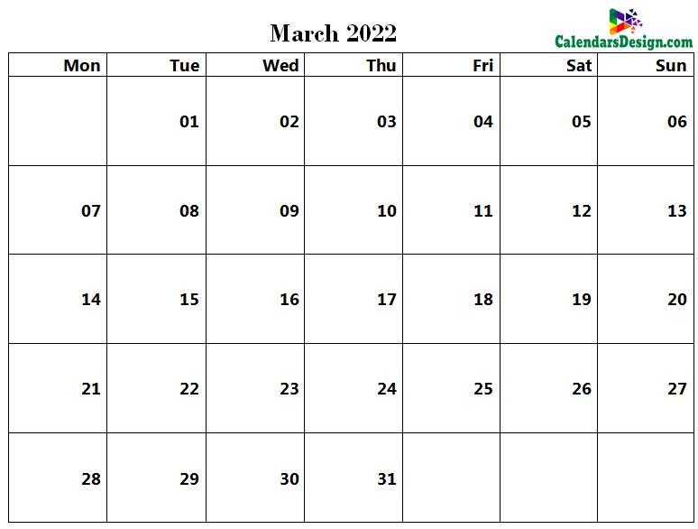 March 2022 page calendar