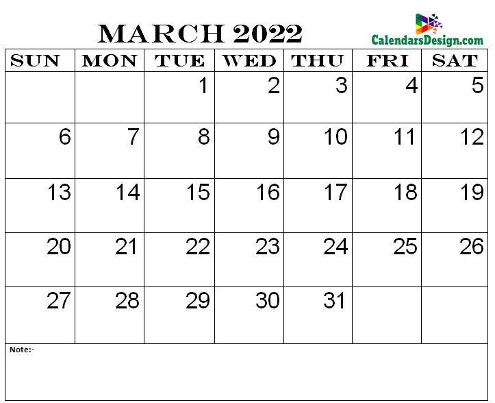 March 2022 printable calendar pdf