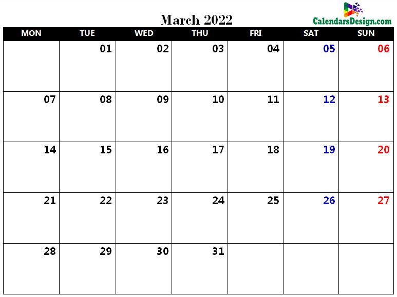 March Calendar 2022 PDF