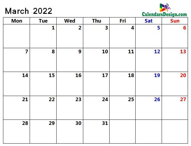 March Calendar 2022 Page