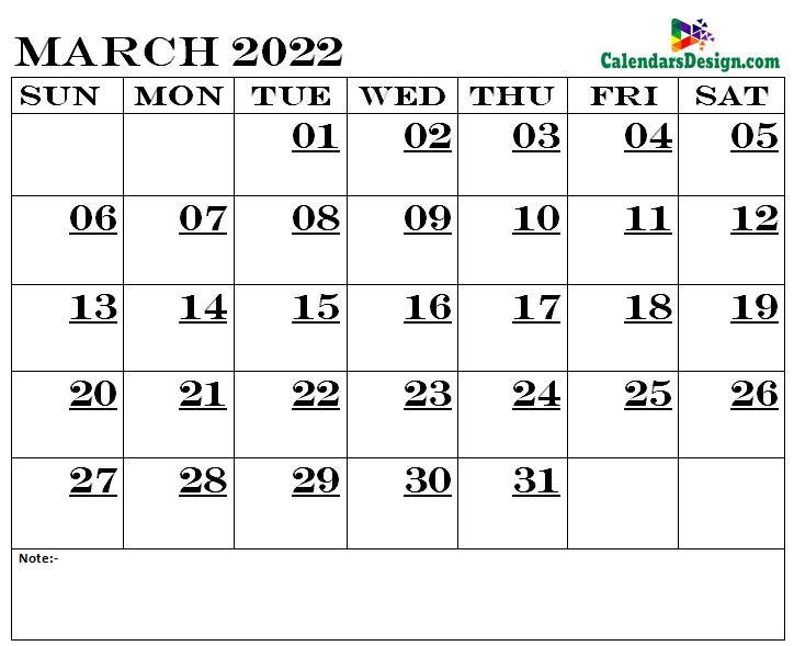 March Calendar 2022 Printable