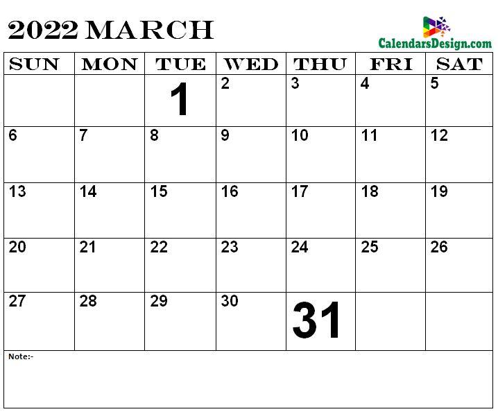 March Calendar 2022 Template