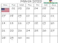 March Calendar 2022 USA With Holidays