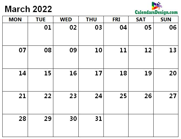 March Calendar 2022 Word Format