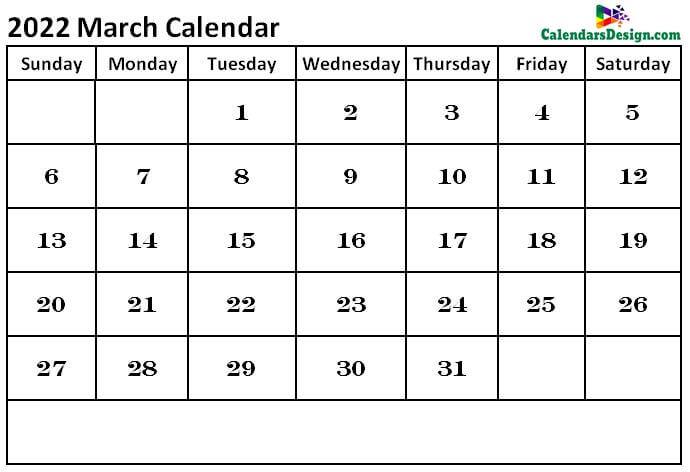 March Calendar 2022