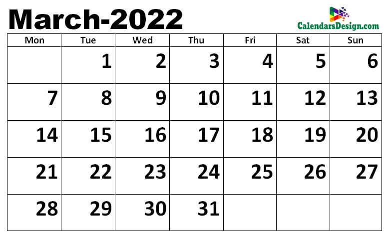 March calendar 2022 excel calendar