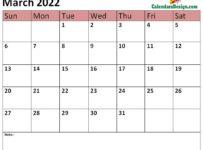 March calendar 2022 printable online