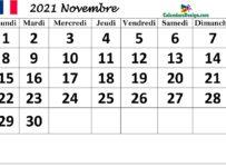 Modèle de calendrier français pour novembre 2021