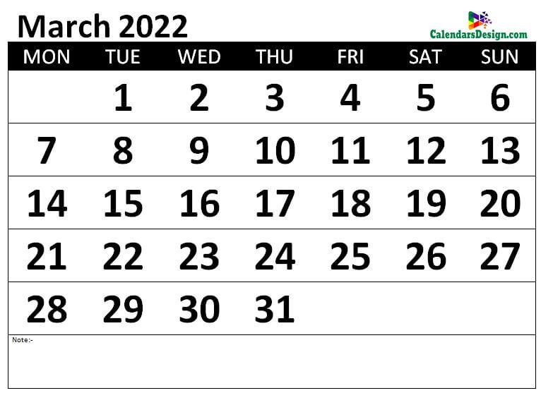 Monthly March 2022 calendar free