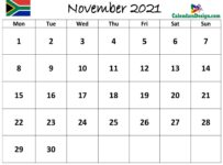 November 2021 Calendar South Africa