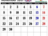 November 2021 Calendar United Kingdom