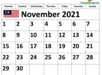 November 2021 Malaysia calendar