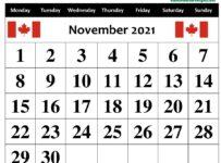 November Calendar 2021 Canada With Holidays