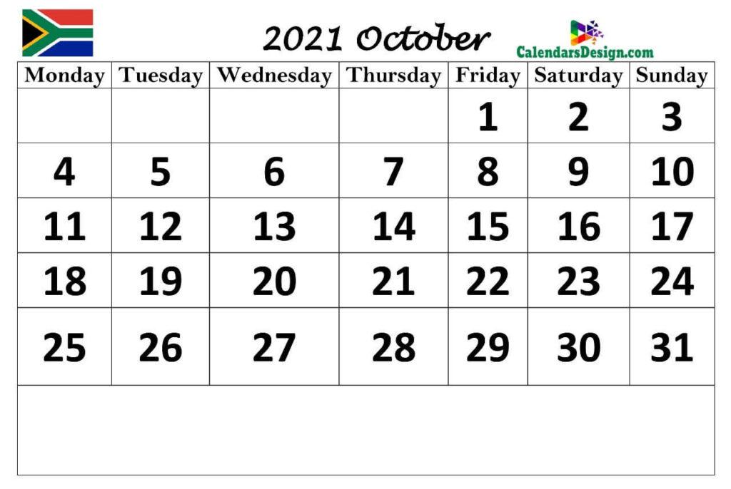 Oct 2021 Calendar South Africa